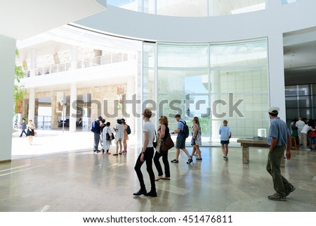 LOS ANGELES, USA - July 10, 2016: The interior of J. Paul Getty Museum (Getty  Museum), an art museum in California established in 1974 on July 10, 2016, Los Angeles, CA  - stock photo