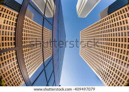 LOS ANGELES, USA - JUNE 27, 2010: perspective of skyscraper downtown los Angeles. The new KPMG building is mirroring in a skyscraper.