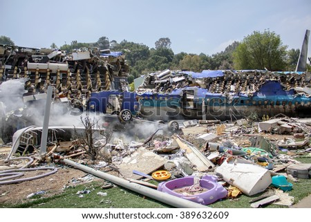 "LOS ANGELES, USA - JUNE 02, 2009: Plane crash set for the ""War of the Worlds"" with Tom Cruise in Universal Studios, Hollywood - stock photo"