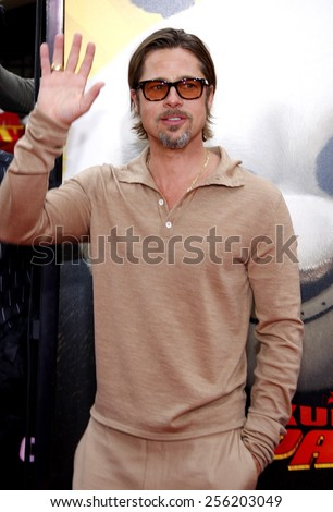 "LOS ANGELES, USA - MAY 22: Brad Pitt at the Los Angeles Premiere of ""Kung Fu Panda 2"" held at the Grauman's Chinese Theatre in Hollywood, USA on May 22, 2011. - stock photo"