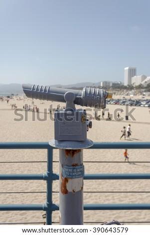 LOS ANGELES, USA - MAY 24, 2009: Old coin operated binoculars on Santa Monica pier, California - stock photo