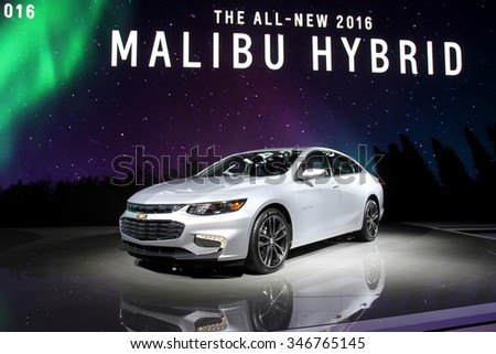 Los-Angeles, USA - Nov 18, 2015: Chevrolet Malibu Hybrid at the LA Auto Show on Nov 18, 2015 in LA, California - stock photo