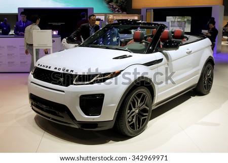 Los-Angeles, USA - Nov 19, 2015: Range Rover Evoque cabrio at the LA Auto Show on Nov 19, 2015 in LA, California - stock photo