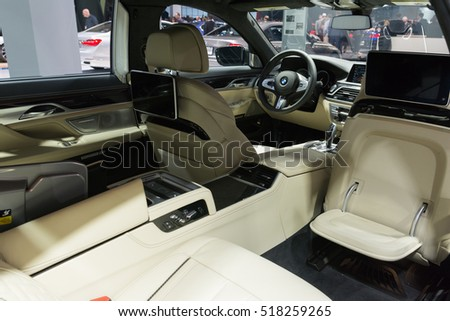 Los Angeles, USA - November 16, 2016: BMW M760i xDrive interior on display during the Los Angeles Auto Show.