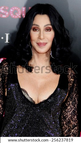 """LOS ANGELES, USA - NOVEMBER 15: Cher at the Los Angeles Premiere of """"Burlesque"""" held at the Grauman's Chinese Theatre in Hollywood, USA on November 15, 2010. - stock photo"""