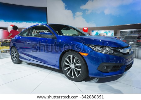 Los Angeles, USA - November 19, 2015: Honda Civic Coupe 2016 on display during the 2015 Los Angeles Auto Show.