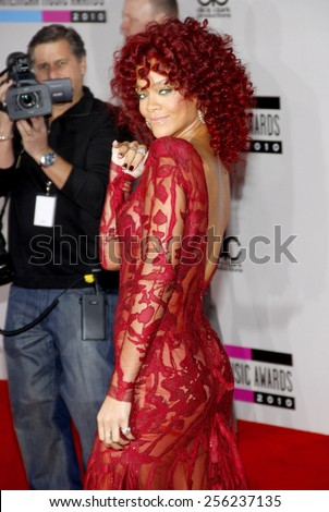 LOS ANGELES, USA - NOVEMBER 21: Rihanna at the 2010 American Music Awards held at the Nokia Theatre L.A. Live in Los Angeles, USA on November 21, 2010. - stock photo
