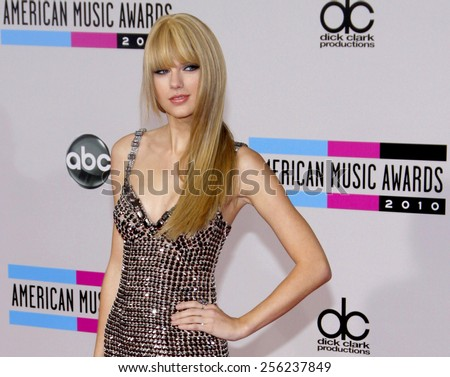 LOS ANGELES, USA - NOVEMBER 21: Taylor Swift at the 2010 American Music Awards held at the Nokia Theatre L.A. Live in Los Angeles, USA on November 21, 2010. - stock photo