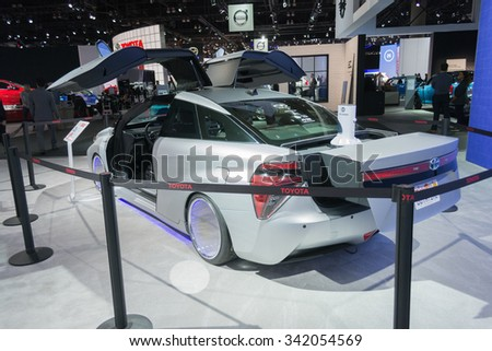 Los Angeles, USA - November 19, 2015: Toyota Mirai Back To The Future edition on display during the 2015 Los Angeles Auto Show.
