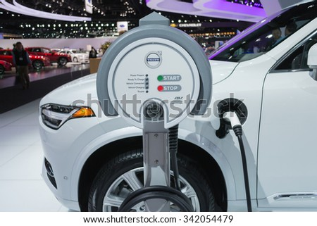 Los Angeles, USA - November 19, 2015: Volvo Charging Station 1on display during the 2015 Los Angeles Auto Show.