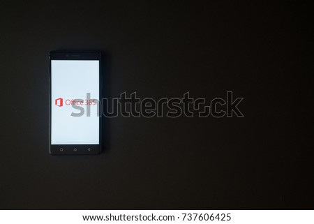 Los Angeles, USA, october 19, 2017: Microsoft Office 365 logo on smartphone screen on black background.