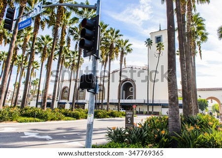 LOS ANGELES, USA - SEP 28, 2015: Architecture of Los Angeles, California. Los Angeles hosted the Summer Olympic Games in 1932 and 1984