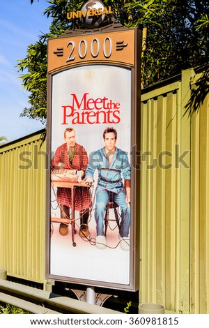 LOS ANGELES, USA - SEP 27, 2015: Ben Stiller Meet the Parents film poster at the Hollywood Universal Studios. Universal Pictures company was created on June 10, 1912