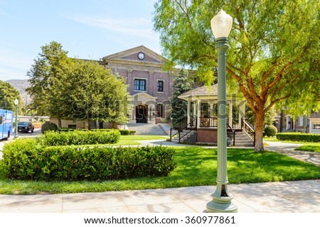 LOS ANGELES, USA - SEP 27, 2015: City Hall at the  Back to the Future set at the Hollywood Universal Studios. Back to the Future is a 1985 film directed by Robert Zemeckis - stock photo
