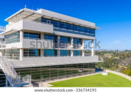 LOS ANGELES, USA - SEP 26, 2015: Exterior of the J. Paul Getty Museum (Getty Museum), an art museum in California established in 1974 - stock photo