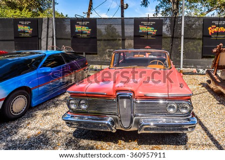 LOS ANGELES, USA - SEP 27, 2015: Futuristic Car from Back to the Future at the Hollywood Universal Studios. Universal Pictures company was created on June 10, 1912