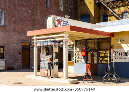 LOS ANGELES, USA - SEP 27, 2015: Gasoline station Texaco at the  Back to the Future set at the Hollywood Universal Studios. Back to the Future is a 1985 film directed by Robert Zemeckis - stock photo