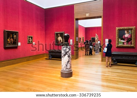 LOS ANGELES, USA - SEP 26, 2015: Interior and gallery of the J. Paul Getty Museum (Getty Museum), an art museum in California established in 1974 - stock photo
