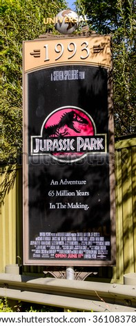 LOS ANGELES, USA - SEP 27, 2015: Jurassic Park film poster at the Hollywood Universal Studios. Universal Pictures company was created on June 10, 1912 - stock photo