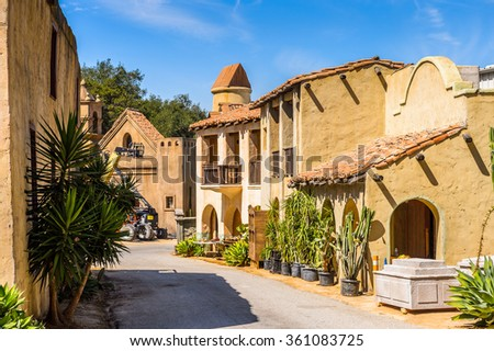 LOS ANGELES, USA - SEP 27, 2015: Old Mexico houses at the Hollywood Universal Studios. Universal Pictures company was created on June 10, 1912 - stock photo