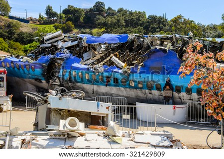 "LOS ANGELES, USA - SEP 27, 2015: Plane crash set for the ""War of the Worlds"" with Tom Cruise in Universal Studios, Hollywood - stock photo"