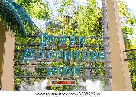 LOS ANGELES, USA - SEP 27, 2015: River adventure ride in Jurassic Park area in the Universal Studios Hollywood Park. Jurassic Park is a 1993 American adventure film  by Steven Spielberg