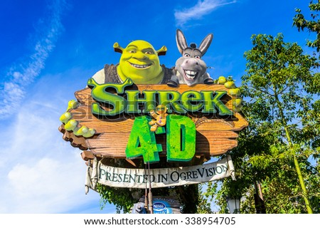 LOS ANGELES, USA - SEP 27, 2015: Shrek 4D area in the Universal Studios Hollywood Park. Shrek is a 2001 animated film produced released by DreamWorks Pictures - stock photo