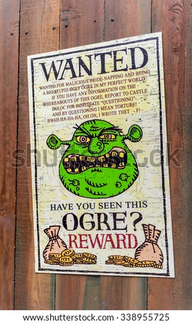 LOS ANGELES, USA - SEP 27, 2015: Wnted ogre in Shrek area in the Universal Studios Hollywood Park. Shrek is a 2001 animated film produced released by DreamWorks Pictures - stock photo