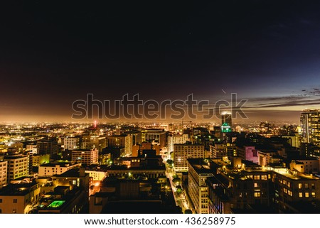 Los Angeles, USA - September 28, 2015: Downtown Los Angeles skyline at night.