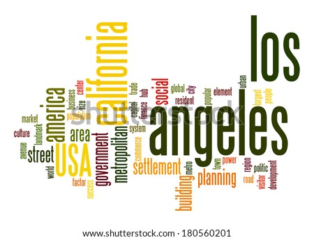 Los Angeles word cloud - stock photo