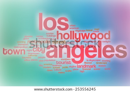 Los Angeles word cloud concept with abstract background - stock photo