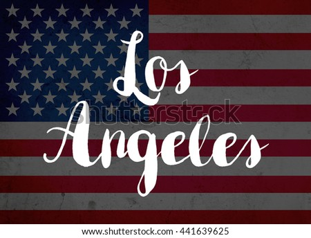 Los Angeles written with hand-written letters - stock photo