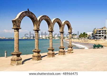 Los Arcos Amphitheater at Pacific ocean in Puerto Vallarta, Mexico - stock photo