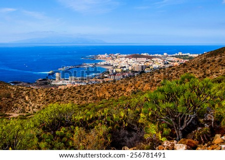 Los Cristianos and La Gomera, view from Guaza mountain. Tenerife, Canary Islands. Spain - stock photo