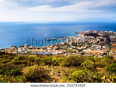 Los Cristianos and Las Americas, view from Guaza mountain. Tenerife, Canary Islands. Spain