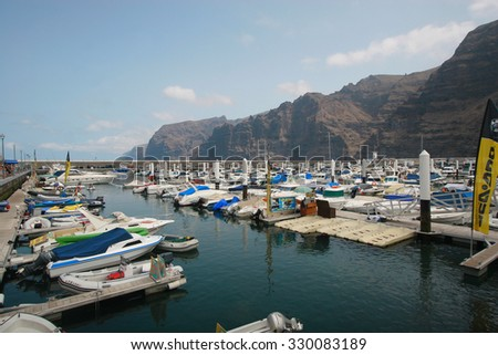 LOS GIGANTES, TENERIFE, SPAIN - JULY 25, 2012: Boats in Sea port , Los Gigantes,Tenerife, Canary Islands, Spain