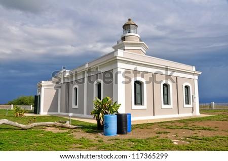 Los Morillos lighthouse at Rojo Cape (Puerto Rico) - stock photo