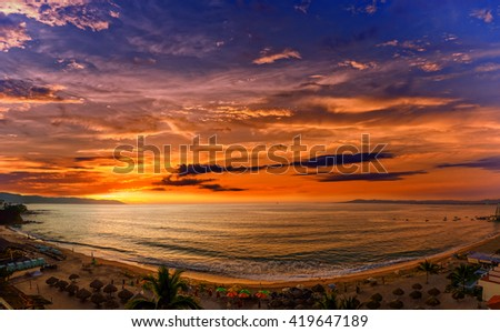 Los Muertos beach, one of the most popular beaches in Puerto Vallarta, Mexico. - stock photo