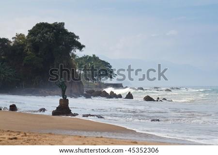 Los Muertos beach with the Seahorse sculpture, Puerto Vallarta, Mexico - stock photo