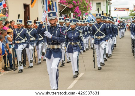Los Santos, Panama - November 10, 2015: Festival and parade in La Villa commemorates La Grita de la Independencia. Held every November 10, this festival attracts dignitaries from around Panama.