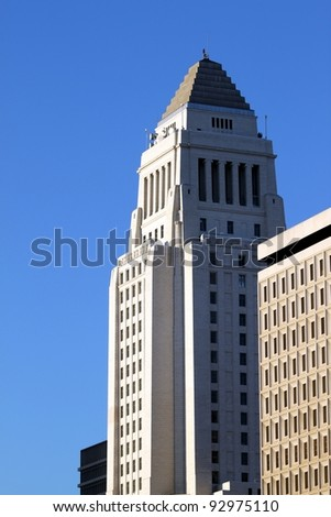 Losa Angeles City Hall in evening light with blue sky - stock photo