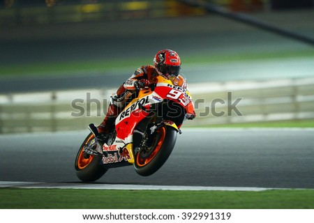 LOSAIL - QATAR, MARCH 18: Spanish Honda rider Marc Marquez at 2016 Commercial Bank of Qatar MotoGP at Losail circuit on March 18, 2016 - stock photo