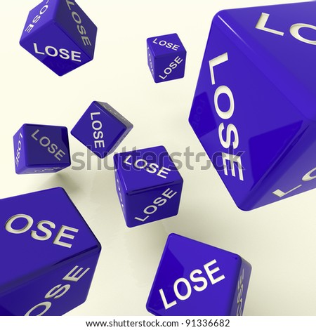 Lose Blue Dice Representing Defeat And Loss - stock photo