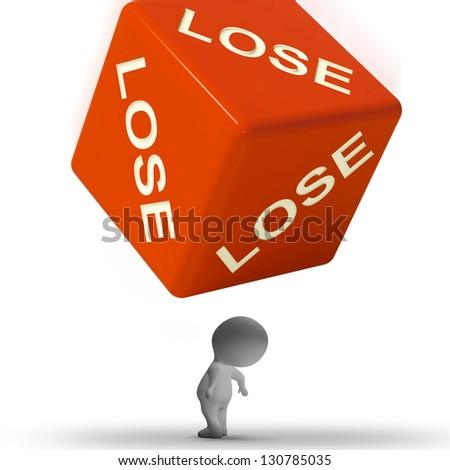 Lose Dice Representing Defeat Failure And Loss - stock photo