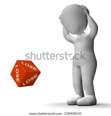 Lose Dice Represents Defeat Failure And Loss - stock photo