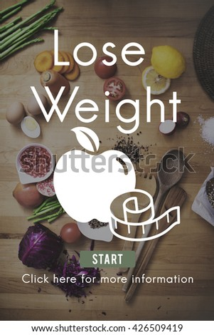 Lose Weight Balance Fitness Slim Diet Nutrition Concept - stock photo