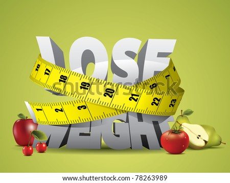 Lose weight text with measure tape and fruits - stock photo