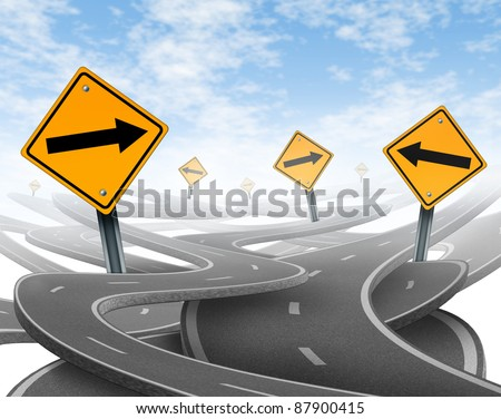Losing control with goals and strategic journey choosing the right strategic path for business with a blank yellow traffic signs with arrows tangled roads and highways in a confused direction.
