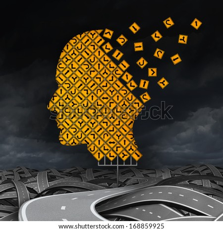 losing guidance brain disease with memory loss due to Dementia and Alzheimer's illness as a medical icon with a group of road signs as a human head and neurology loss as a concept of direction. - stock photo
