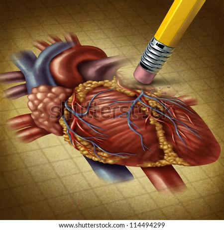 Losing human heart health and a decline in blood circulation causing problems for the cardiovascular system as a pencil eraser erasing an old grunge medical illustration on parchment paper. - stock photo
